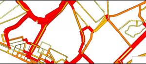 Flussogramma con livello di servizio della rete nell'area di studio